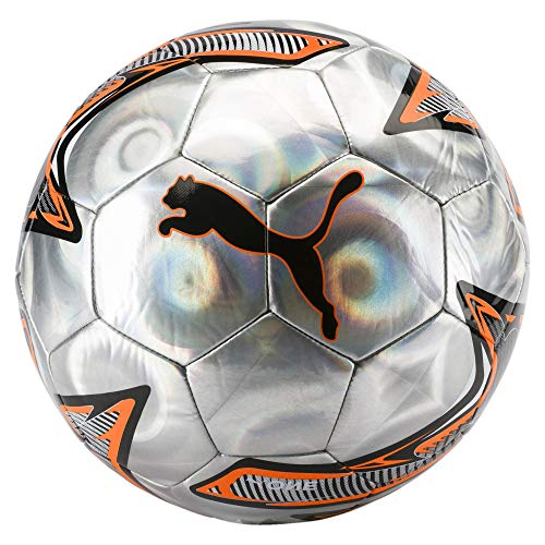 Puma One Laser, Pallone da Calcio Unisex-Adulto, Argento (Silver/Shocking Orange Black), 5