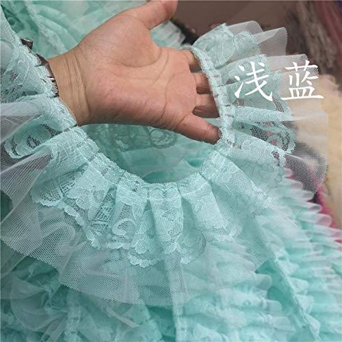 8cm brede luxe 3D geplooide kant katoen borduurwerk lint ruches trimgordijnen jurk rokken zoom splits naaien guipure benodigdheden, lichtblauw
