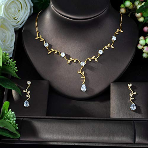 HappyL Mixed Transparent Brilliant Zircon Earrings And Necklace Bridal Jewelry Set Wedding Dress Accessories (Color : Gold Color)
