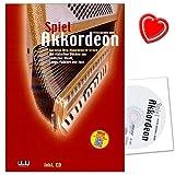 Spiel Akkordeon - Akkordeon-Schule mit CD von Peter Michael Haas - mit einfachen Stücken aus jiddischer Musik, Tango, Folklore und Jazz + herzförmiger Notenklammer