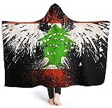 Libanesische Adlerflagge Mann mit Kapuze Decke Superweiche Flanelldecke Hoodie Wearable Hooded Robe mit Kapuze Mantel für Bademantel 50'x40'