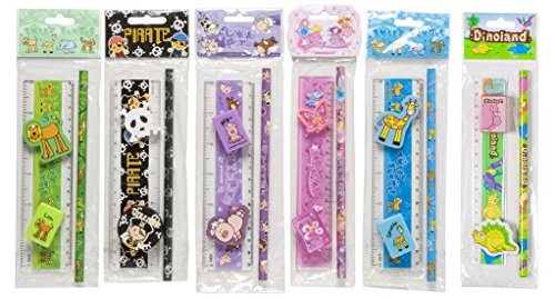 10 x Quality 4 Piece Themed Novelty Stationery Sets Party Bag Filler Kid's Gifts