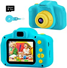 PROGRACE Kids Camera Digital Video Cameras for Kids Boys Birthday Toy Gifts Toddler Video Recorder Children Camera 2 Inch IPS with SD Card-Blue