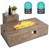Best Choice Products 48x27-inch 50,000 BTU Outdoor Patio Rustic Farmhouse Wood Finish Propane Fire Pit Table and Gas Tank Storage Side Table w/Weather-Resistant Pit Cover, Lava Rocks, Brown
