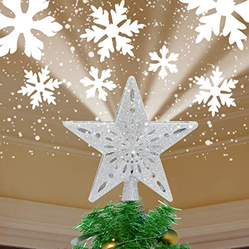 Yocuby Christmas Tree Star Topper Lighted with Built-in Rotating Magic Ball LED Treetop Projector for Crown Christmas Tree Decoration Ornament