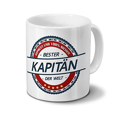 printplanet Tasse mit Beruf Kapitän - Motiv Berufe - Kaffeebecher, Mug, Becher, Kaffeetasse - Farbe Weiß