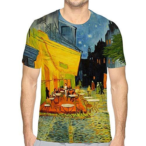 Mens Short Sleeve tee Quick-Dry Crewneck Athletic T-Shirts Copy Famous Van Gogh Cafe Night Painting Van Gogh Cafe Night Painting