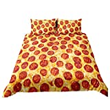 Pizza Duvet Cover Set 3D Pizza Pepperoni Be Decorative Bedding Set Funny Fast Food Bed Comforter Quilted Cover with 2 Pillow Cases, Queen Size