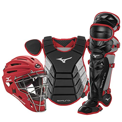 Mizuno Samurai Youth Baseball Boxed Catcher's Gear Set, Black-Cardinal, 14