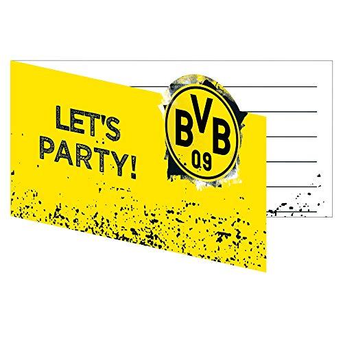 Amscan 9908534 - Einladungskarten BVB, 8 Stück, mit Umschlag, 13,9 x 8 cm, Borussia Dortmund, Fußball, Party, Fan, Geburtstag