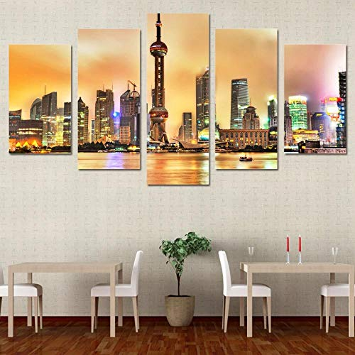 VKEXVDR Modern 5 piece City Shanghai Canvas Picture Background Wall Art Hand Painted and Abstract photo painting Home Decoration Gift Stretched By Wooden Frame
