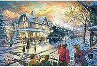 ジグソーパズル1000ピース紙パズルおもちゃクリスマストレイン世界的に有名な大きな紙パズルユニークな家の装飾とギフト 26 X 38cm