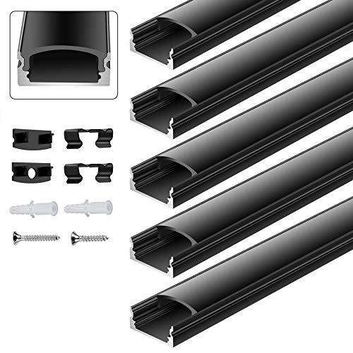 everfarel Perfil de aluminio en forma de U, 5 x 1 m, color negro, perfil de aluminio, se puede cortar con el clip de fijación de la tapa final para tiras de LED/tira LED hasta 12 mm
