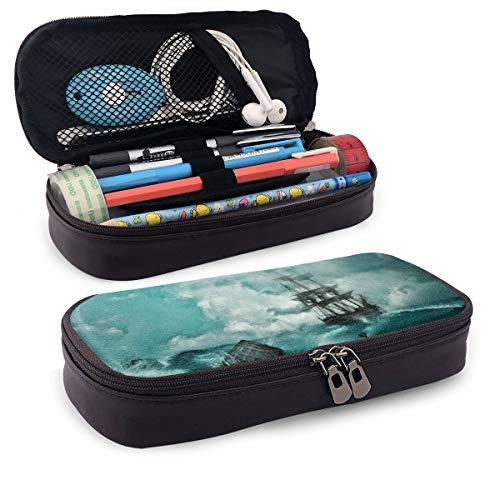 Estuche para lápices con diseño de tormenta de barco, estuche para lápices de maquillaje, estuche organizador duradero para estudiantes, papelería con doble cremallera para la escuela, la oficina o viajes
