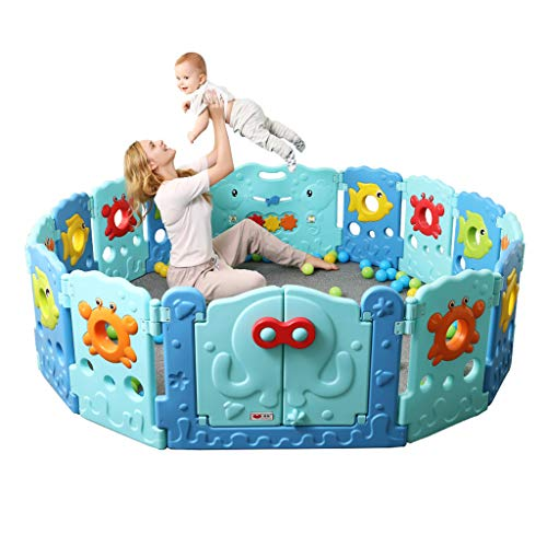 Best Buy! Marine Fence Baby Playpen - 14/16 Panel Kids Activity Center Portable Playard, Indoor and ...