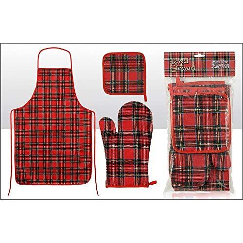 Tartán escocés delantal con globo de horno y agarradera para juego de