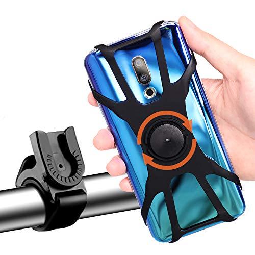 Soporte Movil Bicicleta, Universal Rotación 360° Desmontable Soporte Manillar de Silicona Soporte Movil para Bicicleta Motocicleta Ciclismo GPS Nacigatore para iPhone 11 8 Plus X XS MAX XR Samsung