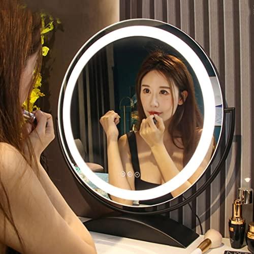 GO2030 Espejo De Maquillaje Portátil,Luz De 3 Colores con Brillo LED Ajustable,Espejo De Mesa Pequeño para Viajes,Espejo De Tocador para Maquillaje (Color : Black, Size : 30cm)