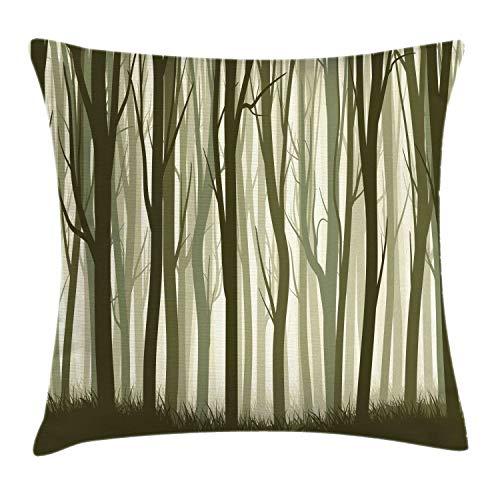 ABAKUHAUS Bosque Funda para Almohada, Tema Madre Naturaleza ilustración Bosque Místico con Árboles Estampa, Decorativo, Estampado en Ambos Lados, 40 x 40 cm, Verde Militar