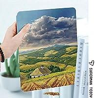 カスタム IPad 2 3 4 ケース オートスリープ機能バレーアートの小麦と小さな田舎の家と夏の農村風景の絵