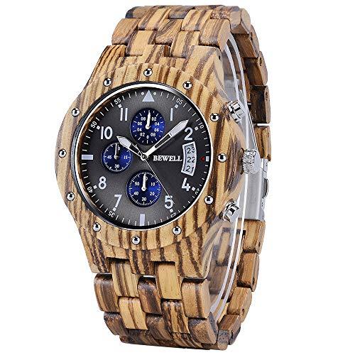 BEWELL horloges van hout herenhorloge chronograaf kwartsuurwerk met houten armband W109D