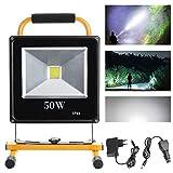 Hengda® 50W LED Akku Fluter Kaltweiß Strahler Außen IP65 handlampe Tragbare Wiederaufladbare Camping Lampe Außenleuchten