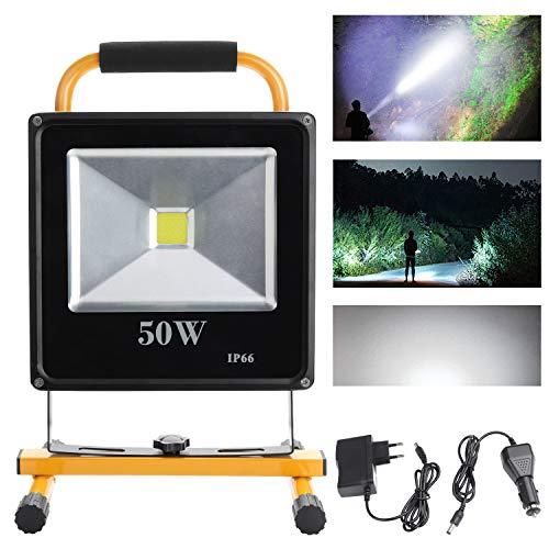 Hengda® 50W Blanco frío LED Foco proyector Recargable del Jardín al Aire Libre, Patio, Terraza, Pescado, Camping, Luz Protector Portátil