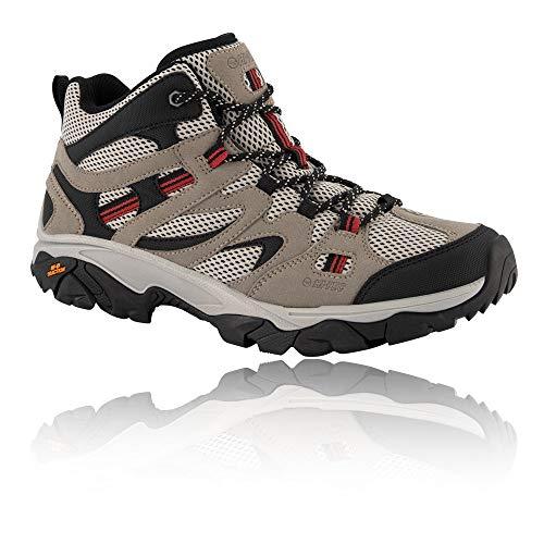 Hi-Tec RAVUS Vent Lite Mid Waterproof, Zapatillas para Caminar Hombre, Gris Fresco, Rojo y Negro, 42 EU