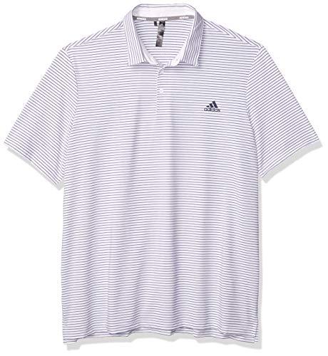 adidas Golf Ultimate365 Space Dye Stripe Polo, White/Grey Three/Team Royal Blue, Small