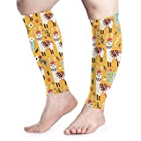 Men Women Lovely Llamas Flowers Calf Compression Sleeve Fashion Leg Support Calf Guards Sleeves Calf Pain Relief for Running
