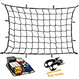 Upgraded Latex Bungee Cord Cargo Net, Kindax 47' x 36' Cargo Net with 12 Big Removable Hooks Stretches to 80' x 60' for The Secure Carrying on Roof Luggage Rack, Cargo Carrier and Pickup Truck Bed
