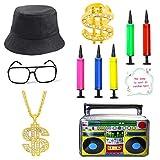 Beelittle 80s 90s Hip Hop Costume Set Algodón Bucket Hat Collar de dólar Chapado en Oro Anillo Inflable Boom Box Gafas de Rapero - Kit de Accesorios de Hip Hop (C)