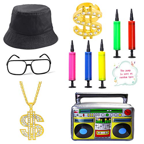 Beelittle 80s/90s Hip Hop Costume Kit Cool Rapper Outfits,Bucket Hat Sunglasses Gold Plated Chain (V)