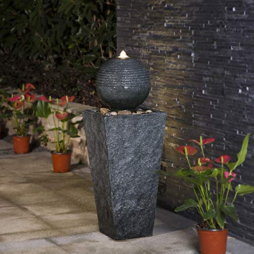 Glitzhome 31.69' H Outdoor Water Fountain with LED Light Decorative Pedestal Water Fountain with Submersible Pump Vintage Decor for Garden Patio Deck Porch