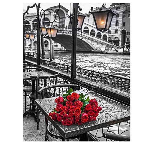 Pintura Al Óleo Escritorio Blanco Y Negro Un Ramo De Rosas Rojas Rompecabezas De 500 Piezas Rompecabezas Para Adultos Adultos Hobby Decoración Del Hogar Bricolaje