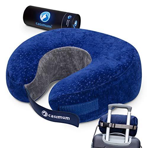 Reisekissen für Flugzeug und Auto. Nackenhörnchen aus Memory-Foam - Orthopädisches Reise Nackenkissen zum Schlafen. Bezug 40 °C waschbar