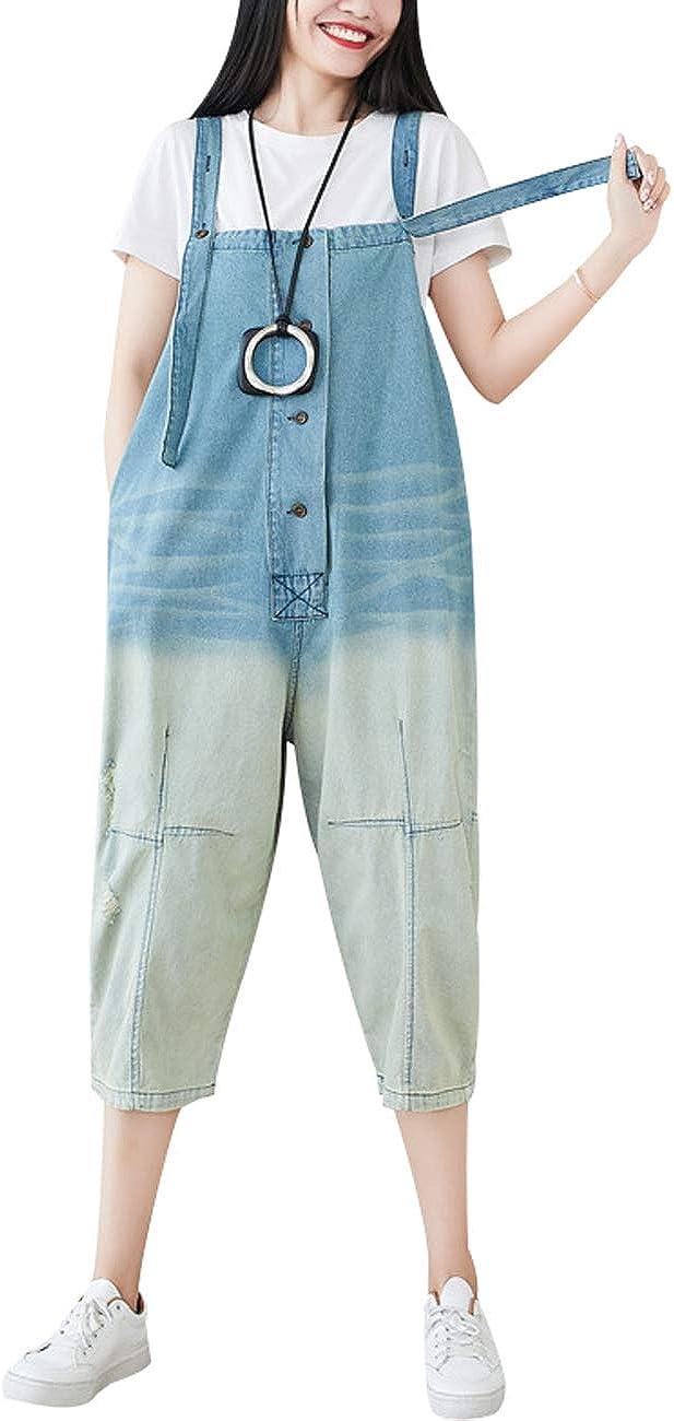 Zoulee New Women Wide Leg Blue Strap Rompers Jumpsuits Denim Casual Bib Overalls Pants