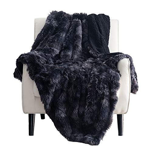 Bedsure Soft Fuzzy Faux Fur Sherpa Fleece King Size Throw Blanket Black- Warm Thick Fluffy Plush Cozy Reversible Shaggy Blanket for Sofa and Bed -Comfy Furry Blanket, 108x90 inches