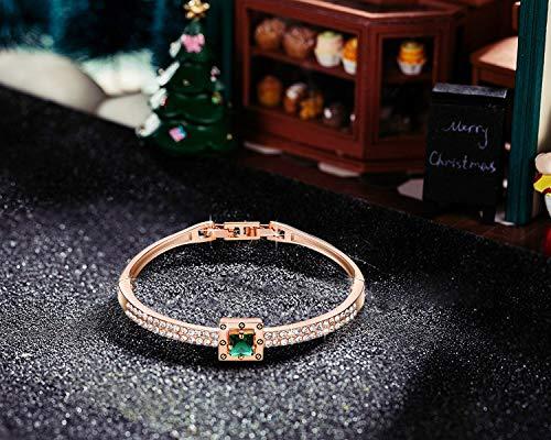 Menton Ezil 18K Rose Gold Plated Bangle Bracelet Princess Cut Zircon Diamond Jewelry Women 7″ Valentines Gifts