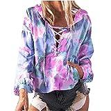 Wave166 Felpa da donna con cappuccio Tie-dye stampata, con coulisse e tasche, a maniche lunghe, collo rotondo, alla moda, Lilla, XL