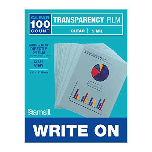 "Samsill 100 Pack 8.5"" x 11"" Clear Write On Transparency Film, for Use with Dry Erase Markers only, Not for Use in Printer"