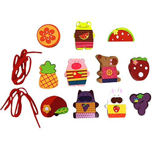 ABBY Puzzle de l'Education Perles de Coordination Main-Oeil Perles de Laçage Fruit Jouets Educatifs Perles de Bois Perle de Cordage pour Enfant Bébé