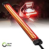 8' Red + Amber LED Motorcycle Turn Signal & Brake Tail Light Strip [IP67 Waterproof] [Dual Row] [RED Tail & Brake] [Amber Sequential Turn Signals] Flexible Tail Light Strip for Motorcycle Trailer ATV