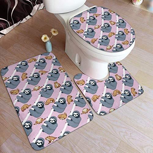 Lawenp Sloth On Tree, Juego de alfombras de baño de Moda, 3