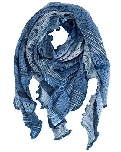 Invero, Merino Dreieckstuch/Schal Kyra, 100% Wolle (Jeans)