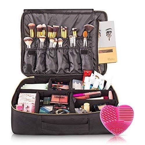 habe X Large Travel Makeup Bag - CRACK-PROOF Dividers – Ultra Big Professional Organizer