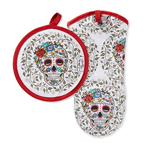 Fiesta Skull & Vine Manopla y Soporte para ollas, algodón, 6.5'x13' 8'x8'