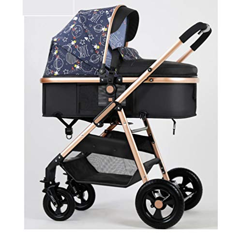 HJF GWC Light luxury high-view baby stroller can sit, lie down, lightly fold two-way shock-absorbing newborn baby stroller,Clear