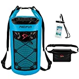 Piscifun Waterproof Dry Bag with Waterproof Waist Pouch and Waterproof Phone Case Floating Dry Backpack for Water Sport - Fishing, Boating, Kayaking, Camping Gifts for Men and Women Light Blue 10L