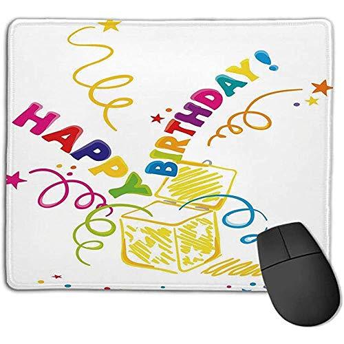 Muis Pad Verjaardag Decoraties Verrassing in een doos Doodle Vrolijke Spirals Confetti en Sterren e o